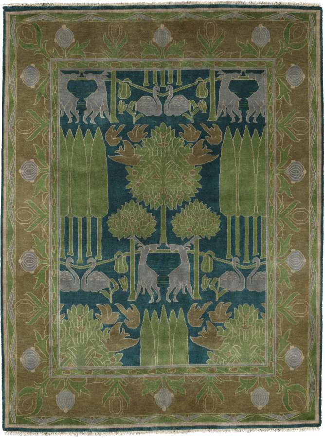 tranquil forest scene rug